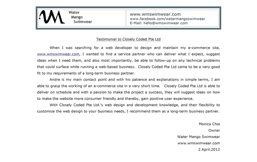 Water Mango Swimwear Web Design Testimonial