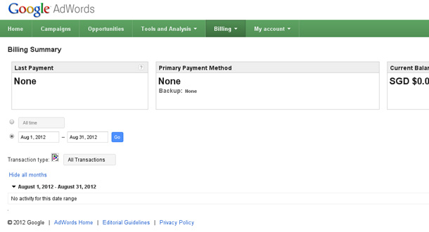 Google Adwords Billing Summary