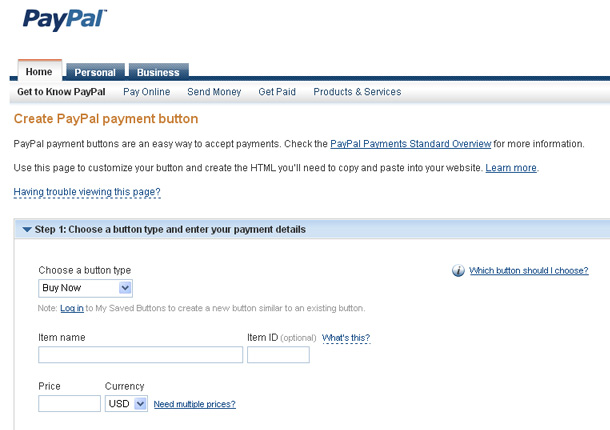 Create PayPal Payment Button